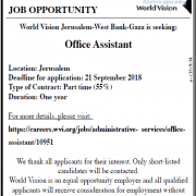 Palestine Polytechnic University (PPU) - Office Assistant - World Vision