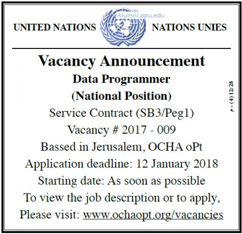 Palestine Polytechnic University (PPU) - Data Programmer - UN
