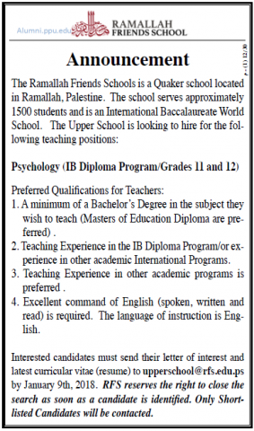 Palestine Polytechnic University (PPU) - Psychology - Ramallah Friends School