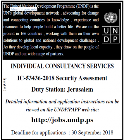 Palestine Polytechnic University (PPU) - Individual Consultancy Services - UNDP