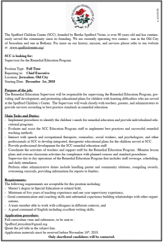 Palestine Polytechnic University (PPU) - Supervisor- The Spafford Children Center